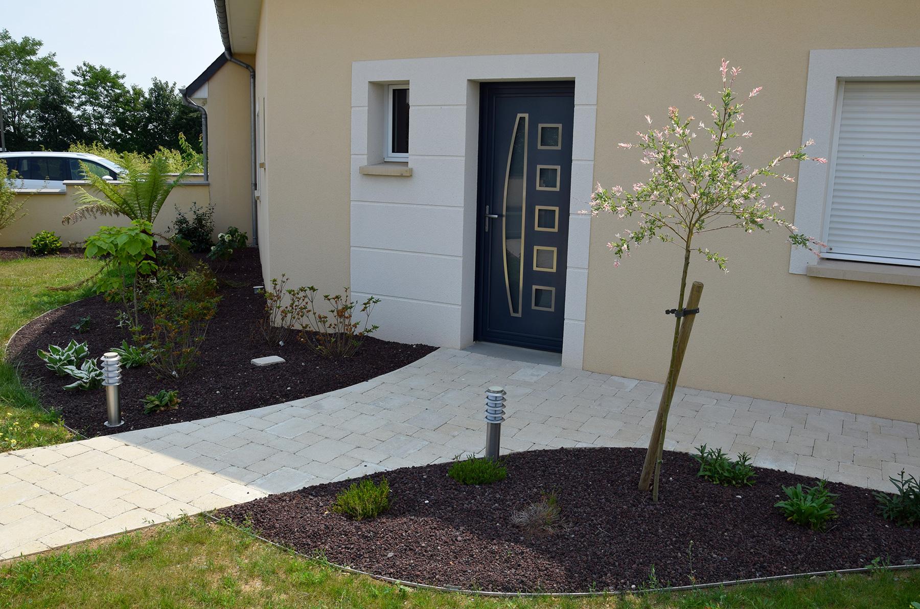 Aménagement Entrée Maison Extérieur aménagement d'entrée de maison en pavé   paysages conseil