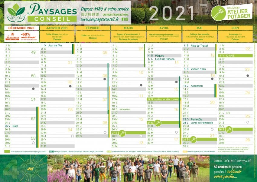 Calendrier 2021 | Paysages Conseil